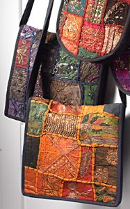 Bag~ Hippy Bohemian Large Moti Ari Patch Embroidered Shoulder Bag~ By Folio Gothic Hippy SB52